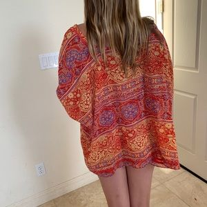 Angie Tops - 2x$20 Orange red tribal festival beach coverup